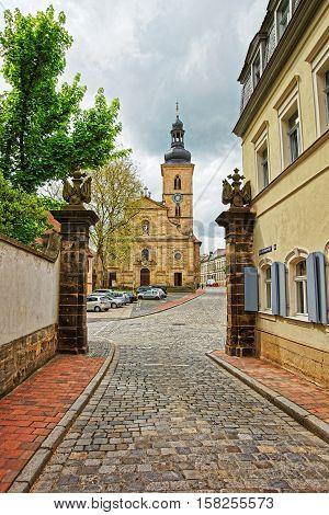 St Jakob Church In City Center Of Bamberg In Germany