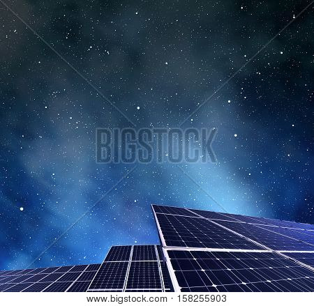 Photovoltaic panels in night. Power plant using renewable solar energy.