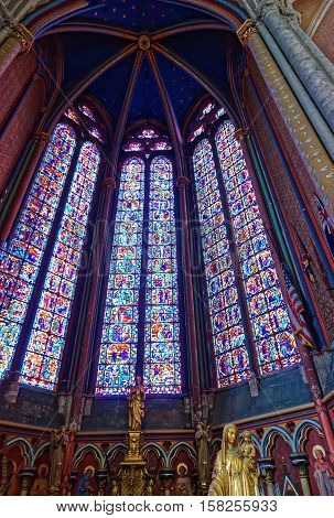 Stained Glass Window At Amiens Cathedral Of Notre Dame Picardy