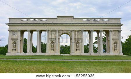Column colonnade landmark at Reistna near Lednice Valtice town Moravia Czech republic
