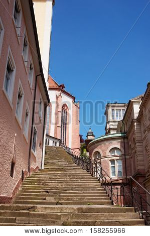Stairs And Baden Baden Church Stiftskirche In Germany