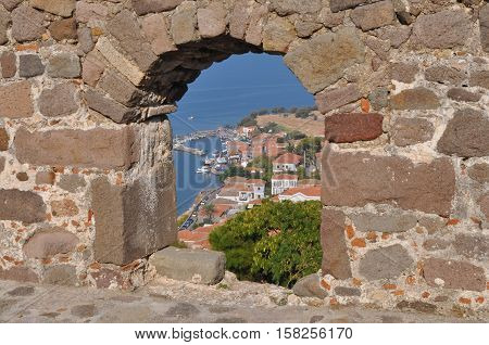view from Molivos castle on island  Lesvos Greece