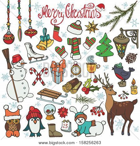 Christmas season doodle set.Winter decoration, snowflakes, Knitted wear, animals, birds, snowman, garlands, other holiday symbols and new year elements.Hand drawn isolated vector, background.Wood story