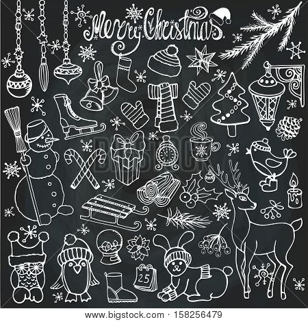Christmas season doodle set.Winter decoration, snowflakes.Knitted wear, animals, birds, snowman and garlands.Other holiday symbols and new year elements.Hand drawn vintage vector, background.Wood story.Chalkboard