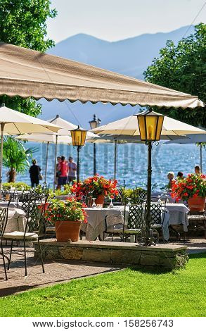 Street Restaurant In Ascona In Ticino Of Switzerland