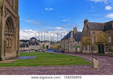 Street And Cathedral Of Our Lady Of Bayeux In Normandy