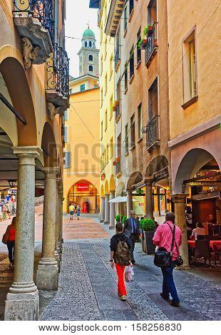 Street And Church Of St Rocco Lugano Ticino Switzerland
