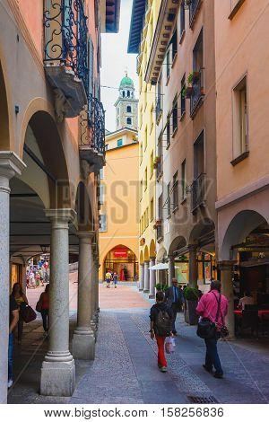 Street And Church Of St Rocco In Lugano Ticino Switzerland