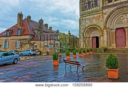 Street At Vezelay Abbey Of Bourgogne Franche Comte Of France