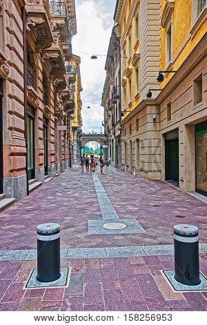 Street In City Center In Lugano In Ticino Switzerland