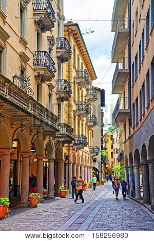 Street In City Center Of Lugano In Ticino In Switzerland