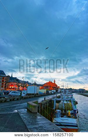 Sunset At Touques River Embankment In Trouville In Calvados Normandy