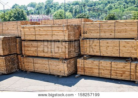 Stacked Piles Of Timber Product