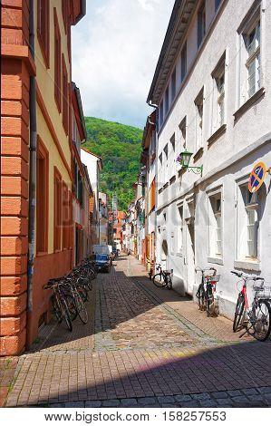 Tight Street In Old Town In Heidelberg Of Germany
