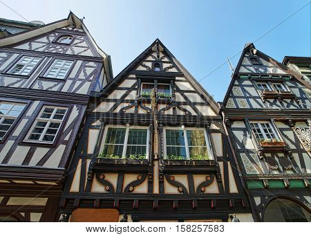 Timber Houses In City Center In Linz Am Rhein Germany