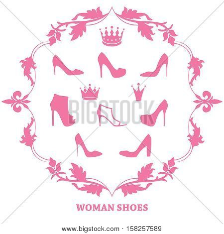 Set of woman shoes silhouettes with crowns in floral vintage frame. Female fashion icons isolated on white. Vector illustration.