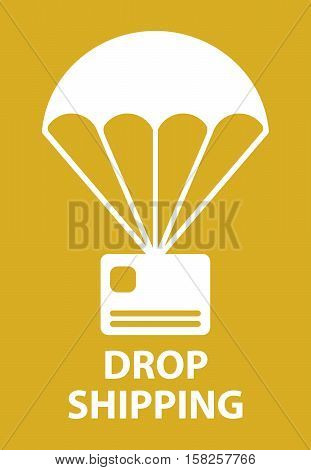 Parachute drop shipping icon in orange color