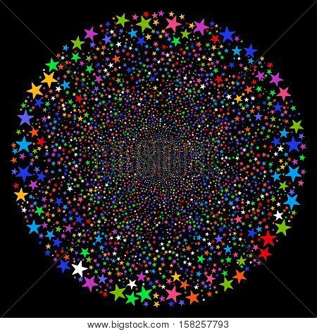 Fireworks Star Sphere vector image. This New Year Pyrotechnic illustration is drawn with multi-colored flat bright stars.