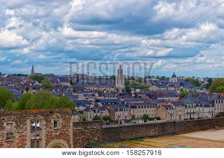 Trinite Church And Old City Of Angers In Loire Valley