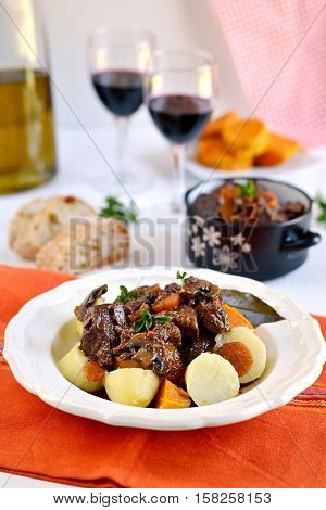 French traditional beef stew with red wine - boeuf bourguignon