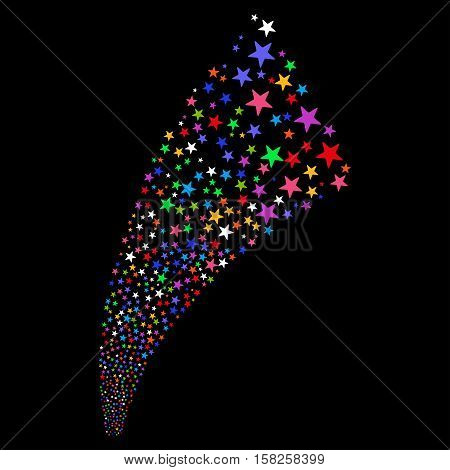 Pyrotechnic Star Salute Stream vector image. Style is bright multicolored flat stars, black background.