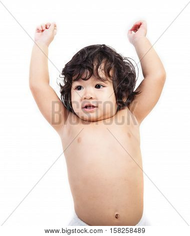 baby asian boy in diaper on white background