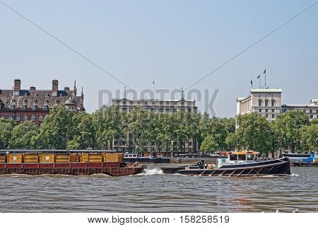 Victoria Embankment Near Whitehall And River Thames In London