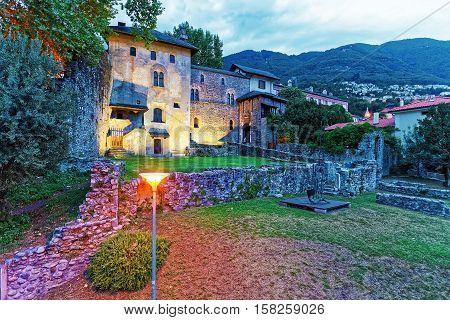 Visconteo Castle At City Center In Locarno In Ticino Switzerland, In The Evening.
