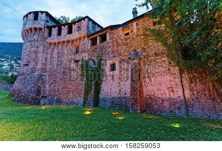 Visconteo Castle Of City Center In Locarno Of Ticino Switzerland, In The Evening.