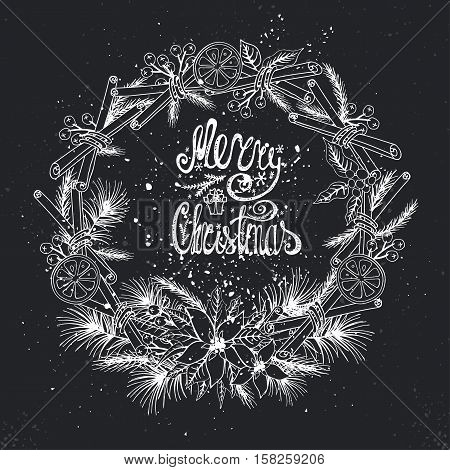 Christmas greeting card.New year, Winter season doodles wreath with citrus and spice.Fir tree brances, Poinsettia flowers, hot, tasty background background.Flat vector, holiday decoration, chalkboard