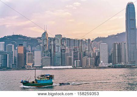 Water Boat At Victoria Harbor Of Hong Kong