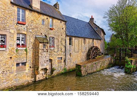 Water Mill And Aure River Of Bayeux In Normandy France
