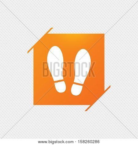Imprint soles shoes sign icon. Shoe print symbol. Orange square label on pattern. Vector