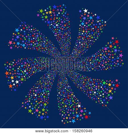 Fireworks Star Twirl vector image. This New Year Pyrotechnic illustration is drawn with multi-colored flat bright stars.