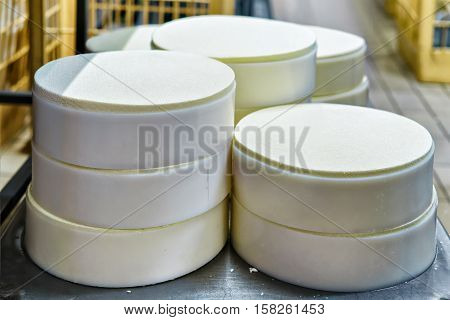 Young Gruyere Comte Cheese Pressed Into Special Forms Dairy