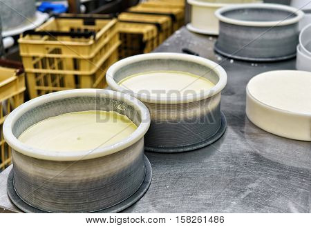 Young Gruyere Comte Cheese Pressed Into Special Forms In Dairy