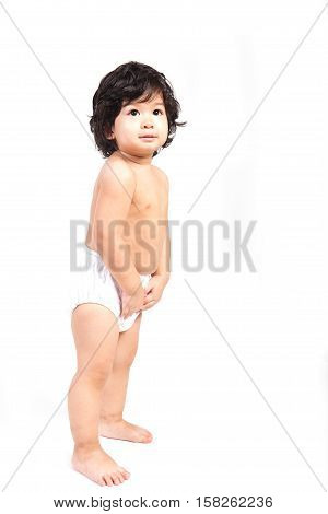 baby asian boy in diaper with white background