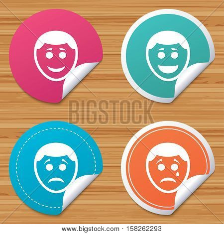 Round stickers or website banners. Human smile face icons. Happy, sad, cry signs. Happy smiley chat symbol. Sadness depression and crying signs. Circle badges with bended corner. Vector