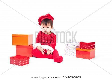 Santa Claus baby girl side view isolated on white background