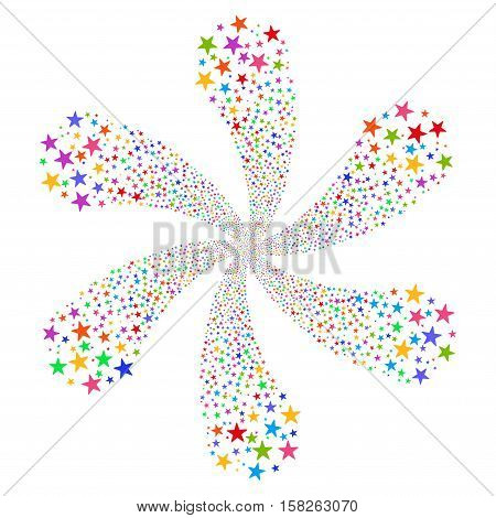 Fireworks Star Flower vector image. This New Year Pyrotechnic illustration is drawn with multi-colored flat bright stars.