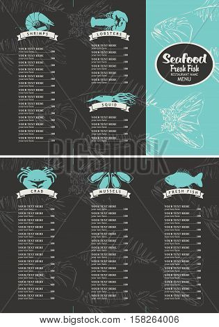 booklet menu with price list for a seafood restaurant with a picture of marine animals and fish