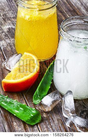 Beverage With Aloe And Orange