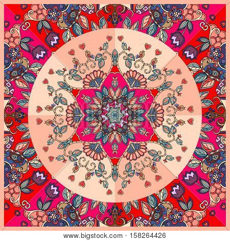 Bright detailed floral ornament. Bandana print, kerchief design.  Lovely tablecloth. Vector illustration.