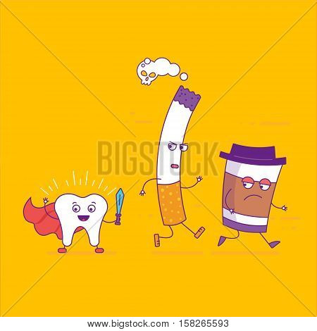 White Tooth Beats Cigarette And Paper Coffee Cup Cartoon Characters In Flat Line Style. Bad Habits,