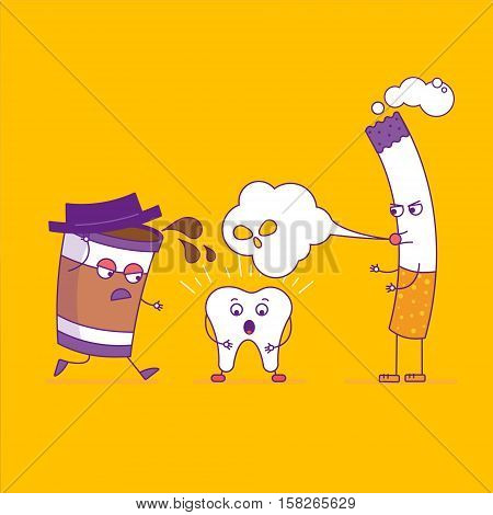 White Tooth Fights Cigarette And Paper Coffee Cup. Cartoon Characters In Flat Line Style. Bad Habits