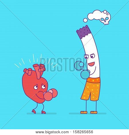 Smiling Heart Fighting Or Boxing With Cigarette. Cartoon Characters In Flat Style. Bad Habits, Smoki