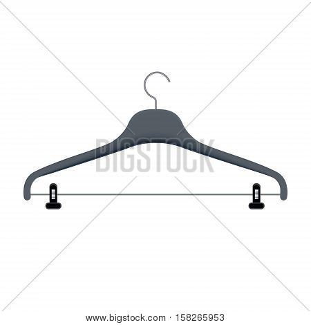 Clothes hanger vector illustration. Coat rack for hanging apparel with a hook on top. Plastic triangle coathanger with steel loop of wire.