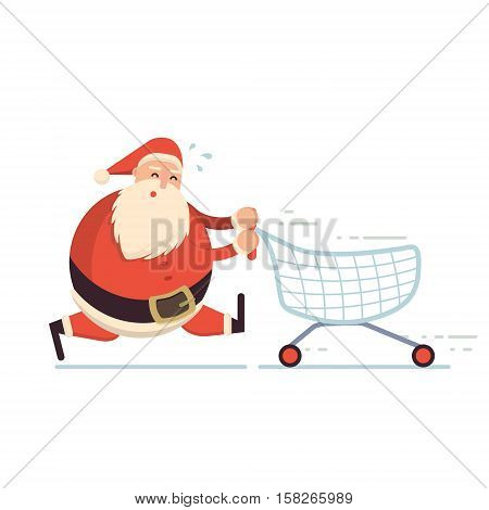 Santa Claus running hard with shopping cart and getting tired. Christmas sale or discount concept. Xmas cute cartoon cheerful and smiling Father Frost character in a hurry. Flat style vector illustration