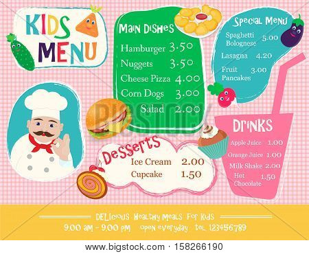 The chef offers a kids menu to suit all tastes: Hamburger Nuggets Vegetables Desserts