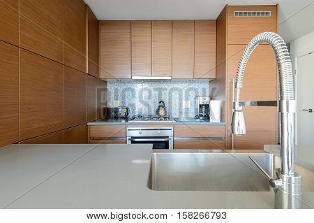 Bright modern kitchen with stainless steel appliances. Interior design.